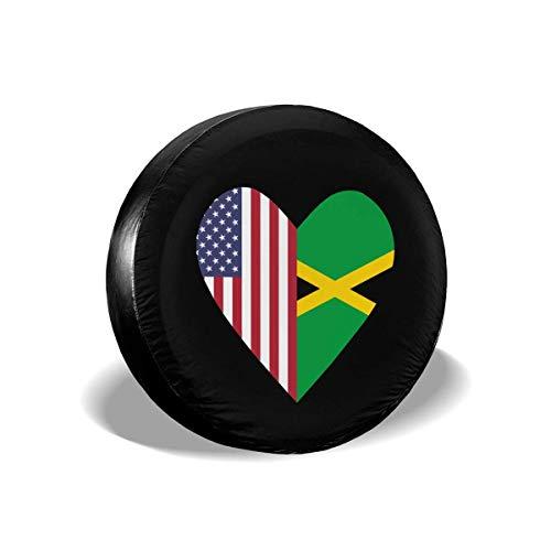 WCHAO La Mitad de la Bandera de Jamaica La Mitad de la Bandera de Estados Unidos Amor Corazón Rueda de Repuesto Cubierta de Rueda Ajuste Universal
