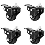 VIVO 1.5 inch M8 Threaded Locking Caster Wheels, Set of 4, Swivel, Rubber Base, Brake, Used for Standing Desk Frames, TV Stands, Carts, and More, PT-ST-015C