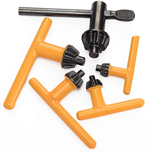 """QLNE 5 Sizes Drill Chuck Key Wrench, Replacement Drill Press Chuck Key, Electric Drill Clamping Tool (Chuck Diameter: 3/4"""" / 5/8"""" / 1/2"""" / 3/8"""" / 1/4"""")"""