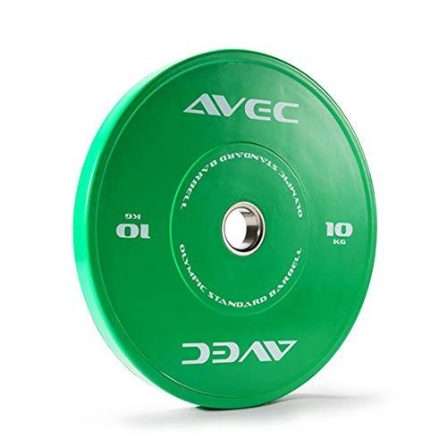 1 Paar - Olympische Vollgummi Langhantel Gewichtsscheiben, Professionelle Wettkampf Gewichtsplatte, Einheitlicher Standarddurchmesser 450 mm, Lochdurchmesser 50mm,Green/2x10kg