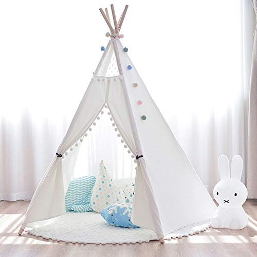 Teepee for Kids Teepee Tent For Kids Cotton Canvas Indian Teepee Playhouse For Children Toddler Indoor And Outdoor Games Pink White Toys for Indoor and Outdoor (Color : White, Size : 110x110x155cm)