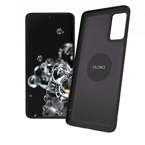 FILONO Samsung Galaxy S20 Ultra Hülle Magnet-fixierbar Carbon ultradünn Kratzfest, schwarz-matt-chic