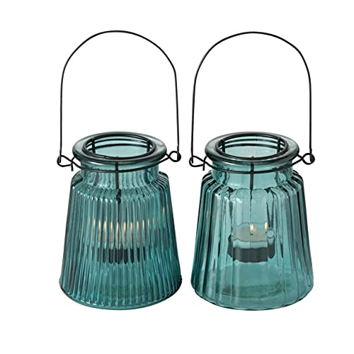 Glas Leuchter Kerzenleuchter Windlichter Teelichthalter 2er Set Sortiert türkis H12cm D10cm