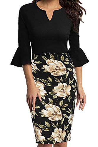 MisShow Damen Elegantes Stretch Etui Kleid Midilang Businesskleider Etuikleid Partykleider Pencil Dress Blumen Gr.2XL