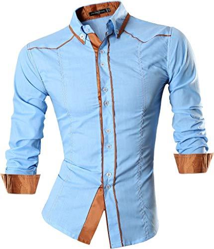 jeansian Men's Slim Solid Long Sleeves Dress Shirts Tops 3 Colors 8695 LightBlue M