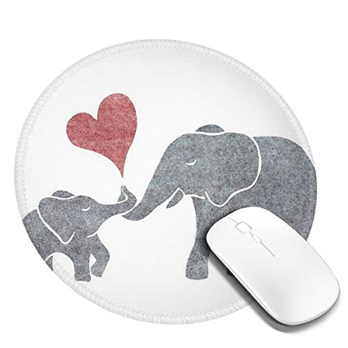 7.9x7.9in ronde muismat bureau olifant baby olifant knuffelen toetsenbord mat grote muis pad voor computer desktop laptop