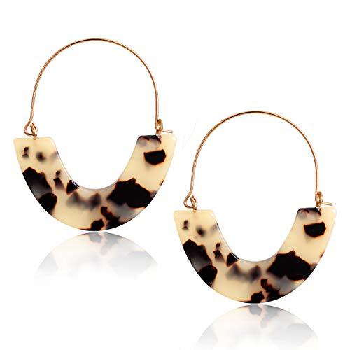 CEALXHENY Acrylic Earrings Tortoise Hoop Earrings Statement Wire Resin Earrings Fan Drop Dangle Earring for Women