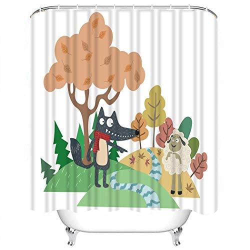 Juegos de Cortinas de Ducha El Lobo y el Cordero Esopo Cuento de Hadas Decoración de Tela de poliéster de Dibujos Animados con 12 Ganchos Impermeable Lavable 12 Ojales para baño