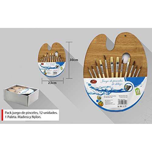 Pack de juego de pinceles de 12 unidades + 1 paleta de dibujo para acuarela/óleo, Nylon y madera. Pinceles de varias medidas.