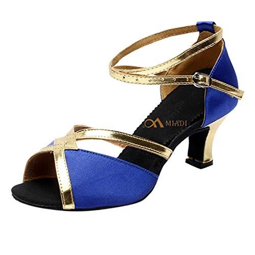 ZIYOU Tanzschuhe Damen Peep Toe Sandalen Kitten-Heel Ballerinas für Rumba Waltz Prom Ballroom Latin Square Dance Schuhe(Blau,38 EU)