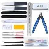 HSEAMALL Kit de herramientas de modelo para Guandam, juego de herramientas de construcción de hobby, herramientas básicas de modelador para bendai Hobby, modelo ensamblar edificio, 18 unidades