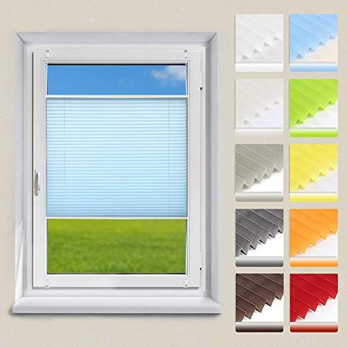 OUBO Plissee Klemmfix Faltrollo ohne Bohren Jalousie mit Klemmträger (Blau, B75cm x H120cm) Sonnenschutz und Sichtschutz Easyfix lichtdurchlässig Rollo für Fenster & Tür
