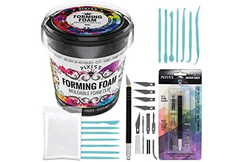 Foam Clay Sculpting Foam for Cosplay (300 Gram Black), 14 Sculpting Tools, Craft Knife with Extra Blades and Sculpting Points, Soft Air Dry Moldable Sculpting Cosplay Materials