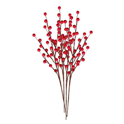 PRETYZOOM Kunstmatige Bessen Nep Berry Stammen Picks Takken voor DIY Crafts Krans Garland maken Bruiloft Kerstversiering 4 stks