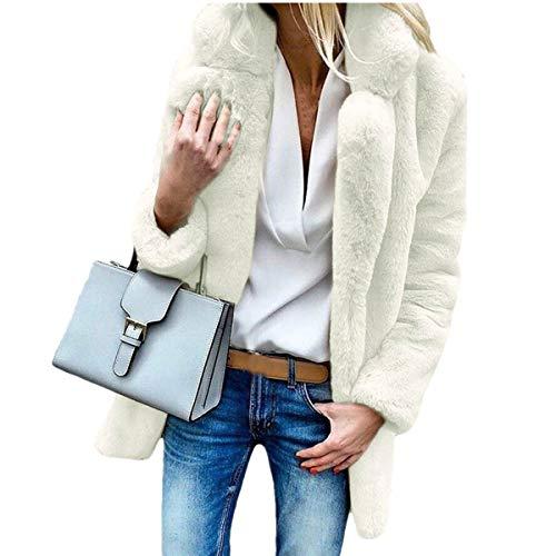 MEIbax Damen Plüschjacke Winter Mantel warme lose großen Kragen Pelz Coat Elegant Cardigan Faux Für Kunstfell Jacke Revers Oversize