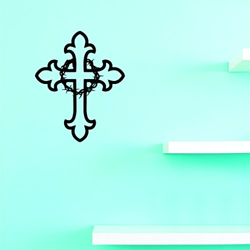 Motif Vinyle Avec 2 recharges de 2275 2 Hot nouveaux autocollants Croix Décoration murale Taille : 40,6 x 61 cm Couleur, 40,6 x 61 cm, Noir