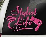 Pink Stylist Life Hairdresser Salon Tools Vinyl Car Decal Vehicle Bumper Sticker 7 x 5 inches