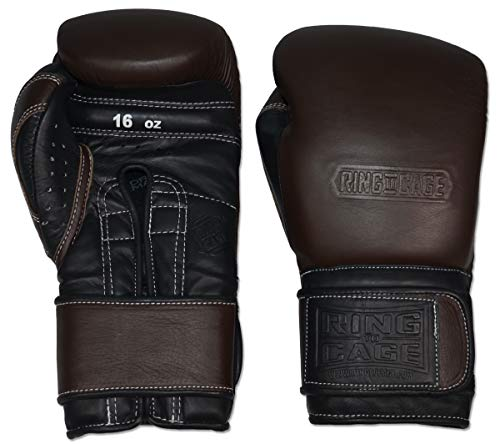 Japanese-Style Training Boxing Gloves 2.0 - Hook&Loop or Lace Up - 12oz, 14oz, 16oz, 18oz - 9 Colors to Choose (Drum Dyed Dark Brown/Black Palm, 16oz Hook&Loop)