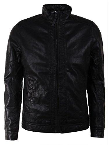 TOM TAILOR Herren Fake Leather Biker Jacket Jacke, Schwarz (Black 2999), XX-Large