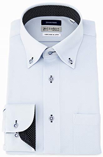 [アイシャツ] i-shirt 完全ノーアイロン ストレッチ 超速乾 レギュラーフィット 長袖 アイシャツ ワイシャツ メンズ サックス 長袖ボタンダウン M15120001381 日本 L82(首回り41cm×裄丈82cm) (日本サイズL相当)