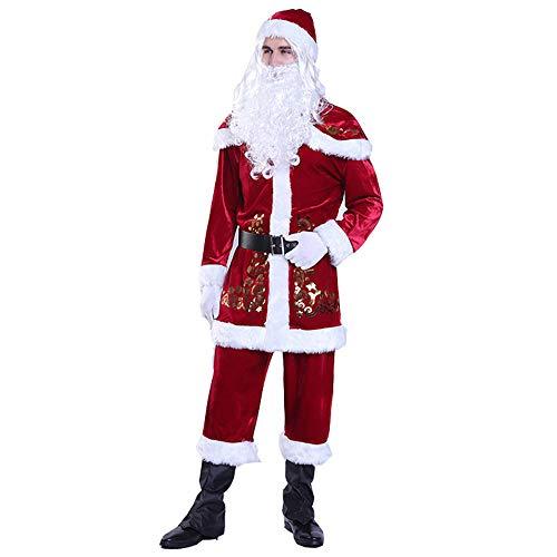 ZXLIFE@@@ mannen Santa Claus pak, kerstkostuum, voor kerst/party/performance, inclusief riem hoed mantel sjaal broek handschoenen en overschoen 9-delig compleet pak