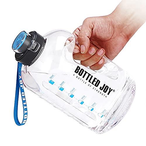 Botella de Agua Deportiva, Water Bottle, Botella Agua sin BPA Reutilizable Botellas de Agua con Marcador de Tiempo para Athletic, Bici, Gimnasio, Oficina-2.5L