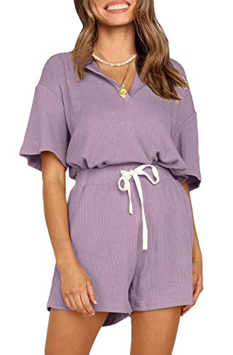CHYRII Womens Casual Two Piece Lounge Sets Ribbed Short Sleeve Pullover Tops with Shorts PJS Sleepwear Lavender XXL