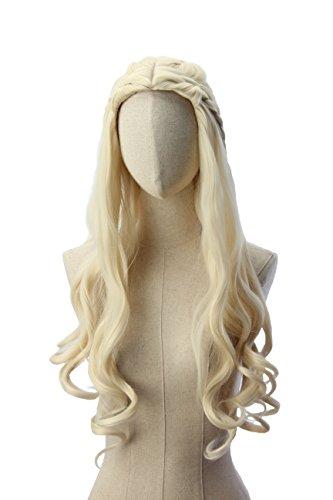 Cosplaywigs: Light wavy blonde Khaleesi Daenerys Targaryen Wig Inspired by Game of Thrones Costume Cosplay Synthetic Hair
