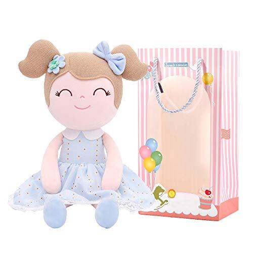 Gloveleya Puppen Babypuppen Weiche Stoffpuppe Puppe Geschenke für mädchen Alter 0+ Blau