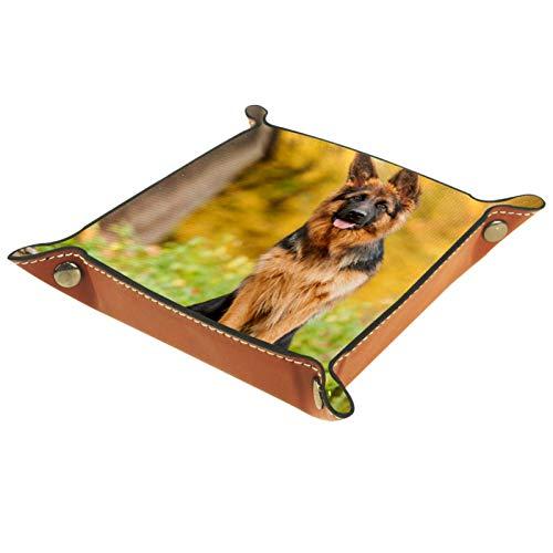 Caja de almacenamiento pequeña, bandeja de valet para hombre,Pastor alemán perro de pie en el árbol,Organizador de cuero para llaves de caja de monedas
