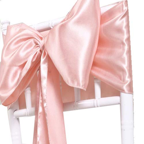 mds Pack of 25 Satin Chair Sashes Bow sash for Wedding and Events Supplies Party Decoration Chair Cover sash - Blush Pink