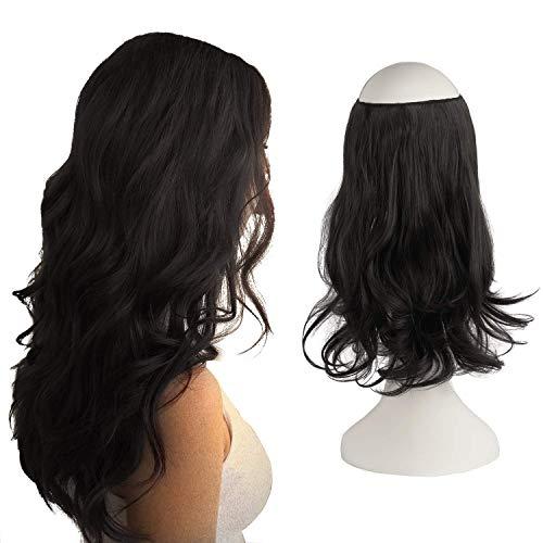 Extensões de cabelo de auréola, extensões de cabelo de coroa de arame invisível secreto, peça única de extensão de cabelo ondulado encaracolado para mulheres, 45,72 cm, ondas encaracoladas - castanho médio 45,72 cm
