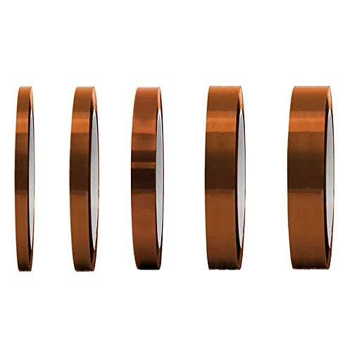 LABOTA 5 Pcs Nastro Adesivo Ad Alta Temperatura 3/4/6/8/15MM Poliimmide Resistente al Calore ad Alta Temperatura Adesivo per la Saldatura, Schede di Sublimazione stampante 3D e Isolamento