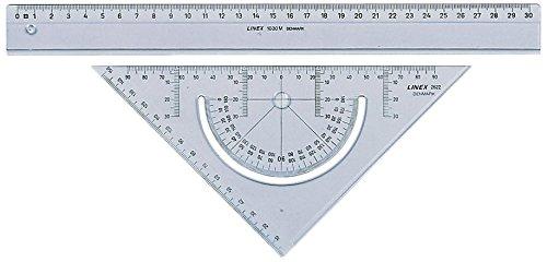 LINEX 100414077 Geometrie-Set bestehend aus Lineal 30 cm + Geodreieck 18 cm mit integriertem Winkelmesser transparent Acryl zum Zeichnen & Messen Zeichengarnitur für Beruf, Hobby und Schule