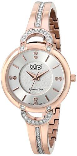 Burgi BUR105RG Orologio da Donna con Cinturino da 30 mm in Acciaio e Custodia, Oro/Rosa