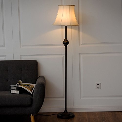 Safstar Floor Lamp w/Shade and one LED Bulb for Living Room Bedroom Decor, Free Standing Bronze Modern Style