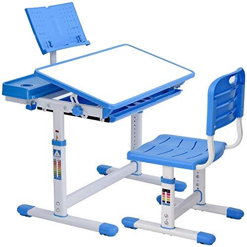 scrivania Bambini, banco Scuola per Bambini Regolabile in Altezza con Piano antiriflesso inclinabile in MDF,Leggio,Astuccio,cassetto estraibile, portapenne-Blu