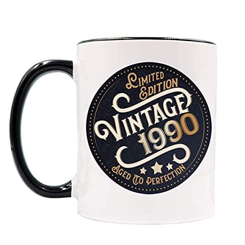 Taza de 30 cumpleaños para hombres, mujeres, regalo de cumpleaños para él, ella, edición limitada Vintage 1990 Tazas de café envejecidas a la perfección, regalos de cumpleaños de 30 años para amigos,