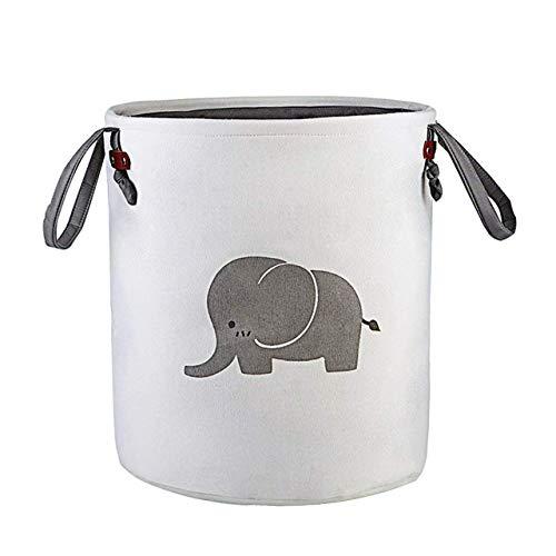 Third A Cestas de almacenamiento de algodón plegables y redondas para el hogar, para guardería, juguetes, ropa de lavandería, ropa de bebé, cestas de regalo (elefante)