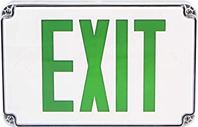 Morris Products Wet Location LED Exit Sign - Red with White Housing - Ni-Cad Battery Backup - Fully Automatic - Resistant to Humidity, Washdown Environment - Self-Contained - Energy Saving