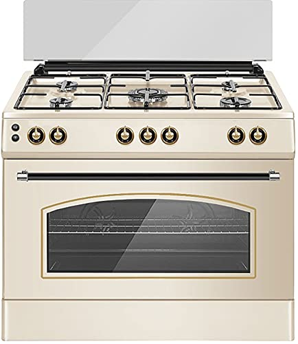 ALPHA Cocina de Gas VULCANO CREAM-90 Rustica. Encendido automático y temporizador en horno. **Alta Gama**