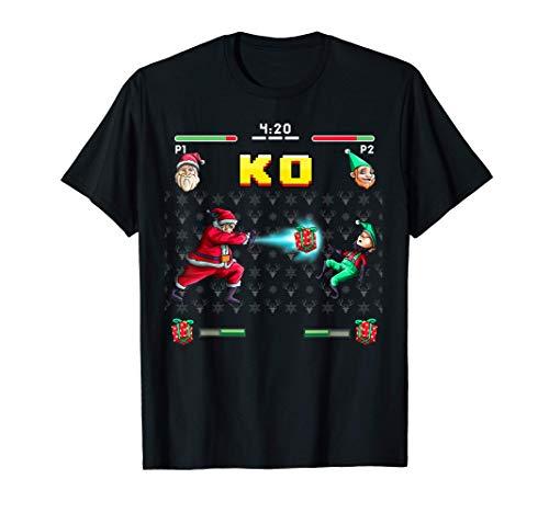 Santa Elf Arcade Game Funny Video Gamer Giochi di Natale Maglietta
