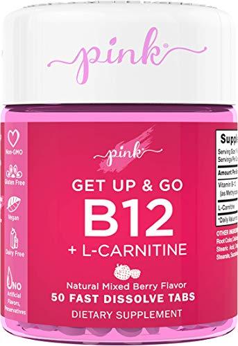 Pink B12 5000 mcg + L-Carnitine | Get Up & Go | 50 Dissolvable Tablets | Vegan, Non-GMO, Gluten Free Supplement for Women