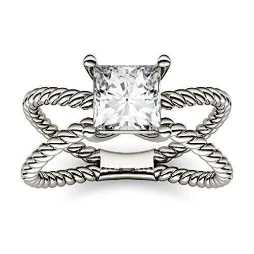 Charles & Colvard Forever One anillo grande - Oro blanco 14K - Moissanita de 5.5 mm de talla cuadrada, 1 ct. DEW, talla 19,5