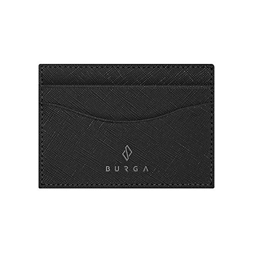 BURGA Minimalist Black Leather Credit Card Holder Case Premium Quality Small Wallet for Men and Women.