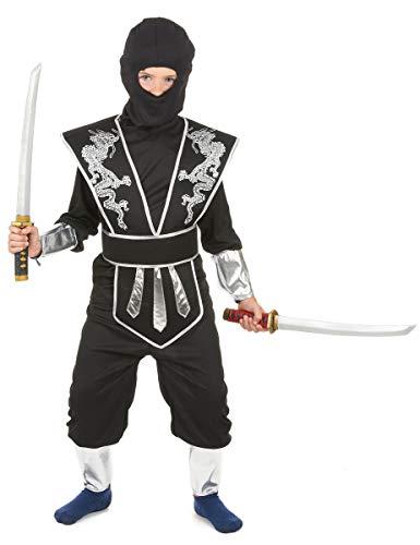 KULTFAKTOR GmbH Ninja Kinderkostüm schwarz-Silber 122/134 (7-9 Jahre)