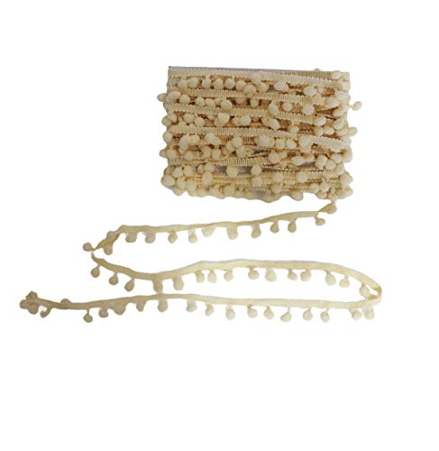 Yalulu 20Yards Mini Pom Pom Trim Ball Fringe Ribbon DIY Sewing Accessory Lace Trim for Pillow Curtains Home Decoration (Beige)