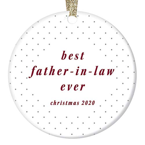 None-brands Monogram Ornament Wreath Ornament Xmas Tree Ornament Custom 2020 Ornament Best Father in Law Ever 2020 Keepsake Engagement Bride Groom for Dad Polka Dotsations