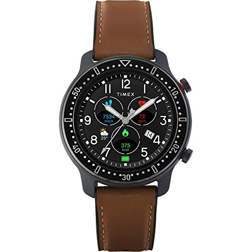 Timex Metropolitan R AMOLED Smartwatch with GPS & Heart Rate 42mm – Black with Brown Leather & Silicone Strap