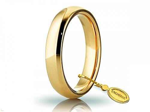 Fede Nuziale Unoaerre Comoda da 5 mm in oro giallo 18kt dal n. 22